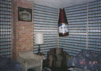 The original wall of beer cans at Busch Mountains